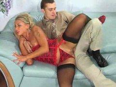 Hot stockings blonde boned in the tight butt videos