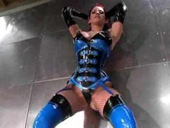 Latex outfit babe poses solo with big tits movies