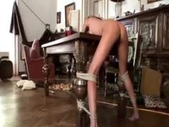 Submissive tied by her mistress and taking toy videos