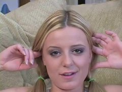 Babe in pigtails talks about sex movies at relaxxx.net