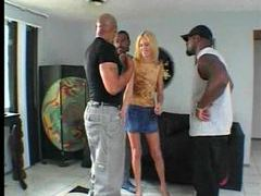 Skinny white girl lets black guys fuck her movies at kilogirls.com