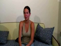 Sexy brunette french girl is ready for porn movies at freekilosex.com