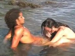 Couple playing naked and hardcore in ocean movies