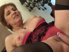 Lingerie on this naughty mature model videos