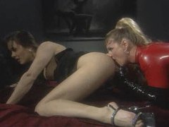 Lesbian babe in latex catsuit eating pussy movies at find-best-lesbians.com