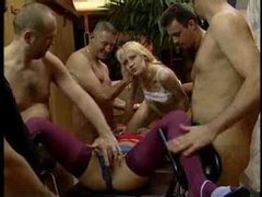 Two girls volunteer for wild gangbang movies at lingerie-mania.com
