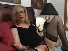 Blonde in stockings and glasses eating cock movies at find-best-panties.com