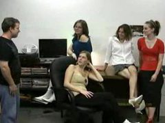 Four girls give him a handjob movies at lingerie-mania.com