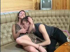 Redheaded mom gets a sticky facial videos
