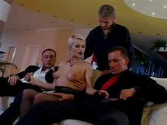 Horny and glamorous blonde is gangbanged videos