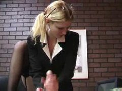He gets rough handjob from blonde in suit movies at kilovideos.com