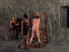 Three mistresses beat the male slave videos