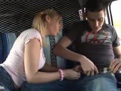 Busty teen gives a handjob in a van movies at kilopics.net