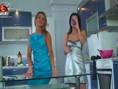 Slender chick at the party covered in cream clip