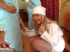 Hot nurse in white stockings at a party videos