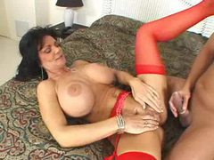 Milf deauxma in red stockings fucked in her cunt videos