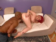 Curvaceous redhead goes down on bbc videos