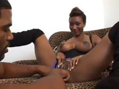 Black man happily goes down on this black slut videos