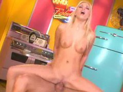 Skinny glamorous blonde girl hardcore cock riding movies at freekilomovies.com