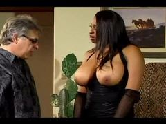 He motorboats her big black natural tits videos