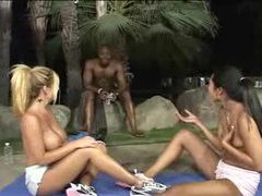 Topless chicks stretch and massage outdoors videos