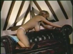Retro workout with a curly hair blonde movies at lingerie-mania.com