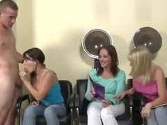 Girls in hair salon suck his cock movies at kilosex.com