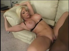 Blonde with fake tits loves big black cock videos