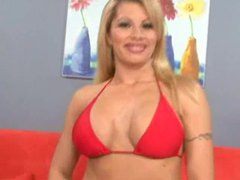 Girl in a red bikini does a hot tease movies at adipics.com