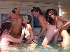 A hot orgy in the hot tub videos