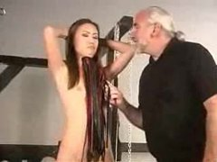 Skinny girl abused by older master videos