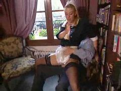 The euro maid fucked in the library movies at lingerie-mania.com