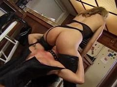 Latex girl eats hot pussy in kitchen movies at kilomatures.com