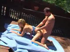 Tight pussy fucked outdoors on deck tubes