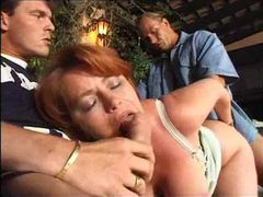 Mature fat redhead takes a double penetration movies at kilotop.com