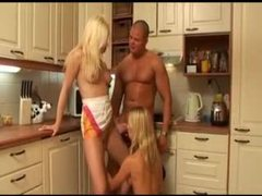 Awesome action in kitchen with two blondes movies at sgirls.net