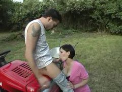 Girl in a pink dress sucks dick outdoors videos
