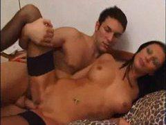 Skinny fishnets girl is full of dick videos
