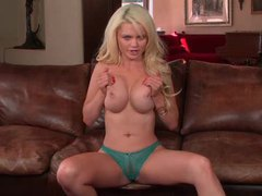 Full striptease with a blonde centerfold videos