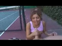 Tennis girl gives handjob on the court videos