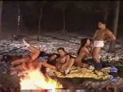 Group sex by the fire in the snow clip