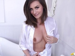 Soft white satin robe on a cute british girl movies at sgirls.net