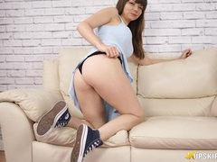 Teen cutie in a pretty blue dress flashes her panties movies at adipics.com