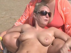 Girlfriends at the beach have big tits in bikinis movies at adipics.com