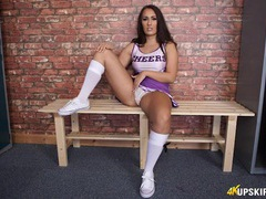 Cheerleader cutie wants you to stroke to her videos