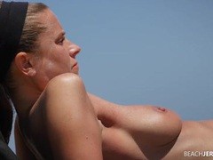 Pretty milf at the topless beach has great tits movies at lingerie-mania.com