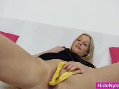 Leggy blonde beauty pervy nylon piss hole fetish movies at lingerie-mania.com