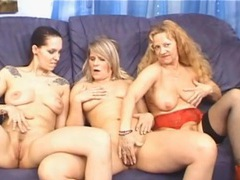 Three cute mature chicks eat cunt in the nude movies at lingerie-mania.com