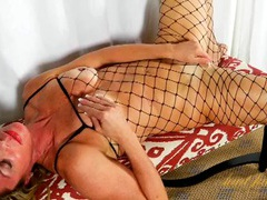 Sexy fishnet body stocking on a hot mom videos