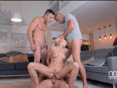 Three stiff boners gangbang a petite blonde videos